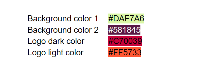 Types and styles of color codes to write down. You'll need them in the editor.