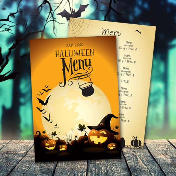 menugo ghostly moon halloween menu template