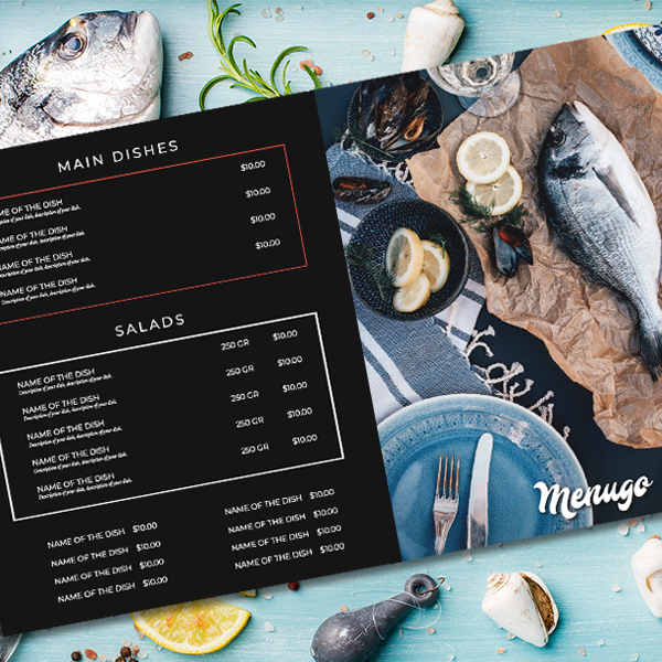 Dark Fish Restaurant Menu Template Menu Design