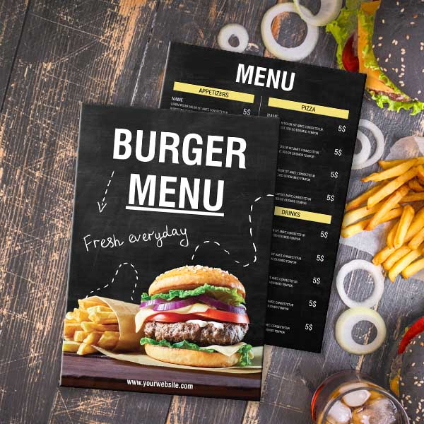 Black Burger Menu Theme Menu Design