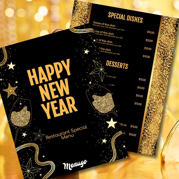 gold new year menu template