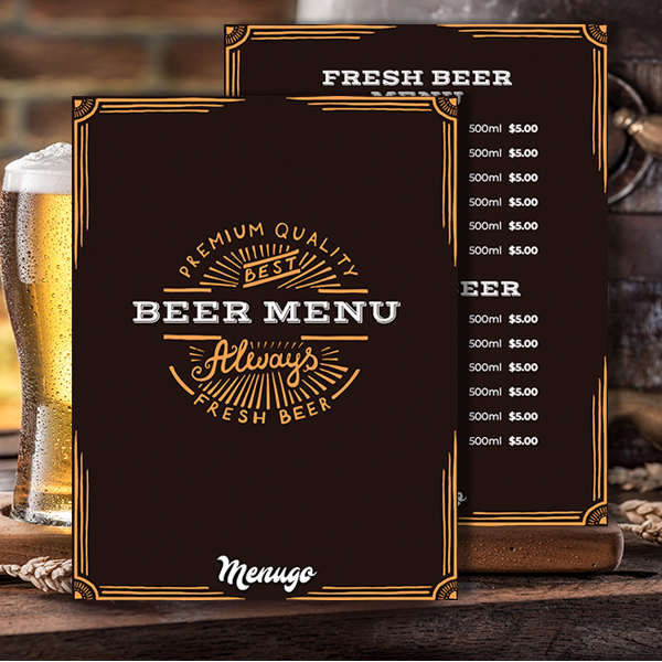Fresh Beer Menu Template Menu Design