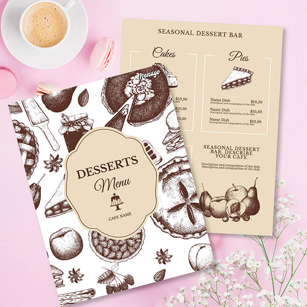 Dessert Cafe Menu Template Menu Design