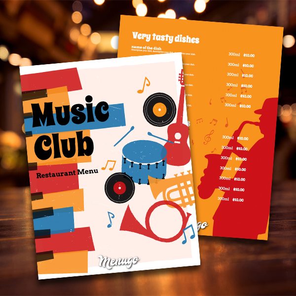 Music Club Menu Template Menu Design