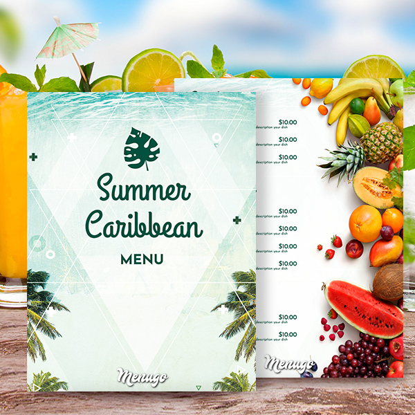 Summer Caribbean Menu Menu Design