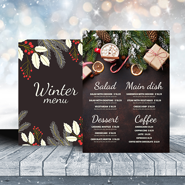 Winter Holidays Menu Theme Menu Design