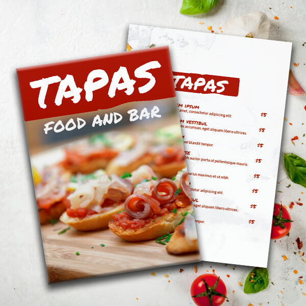 Just Tapas Menu Theme Menu Design