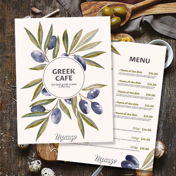 Greek Cafe Menu Template Menu Design