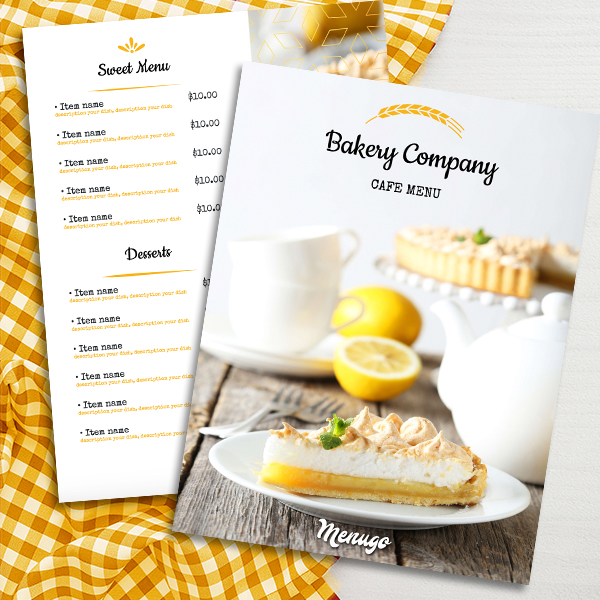 Cake Bakery Menu Template Menu Design