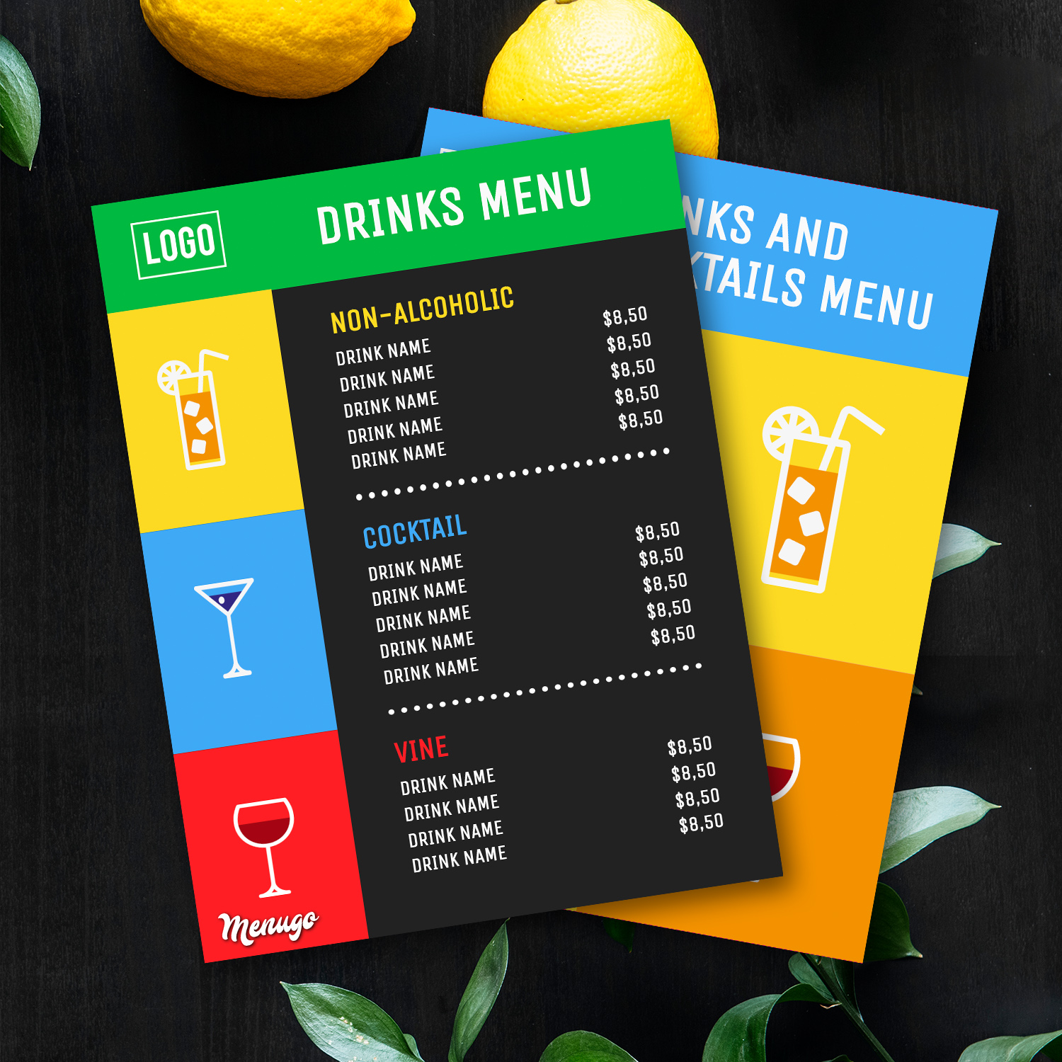 Funky Drinks and Cocktails Theme Menu Design