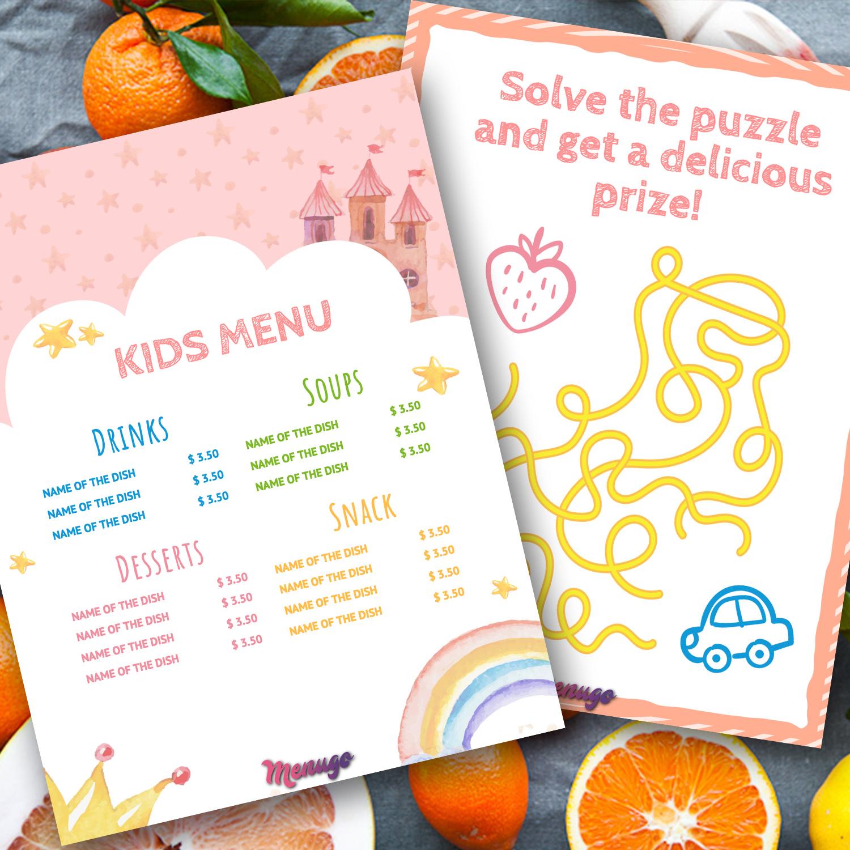 Menugo kids menu template kids menu template maxwellsz