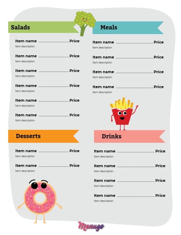 menugo healthy kids menu template