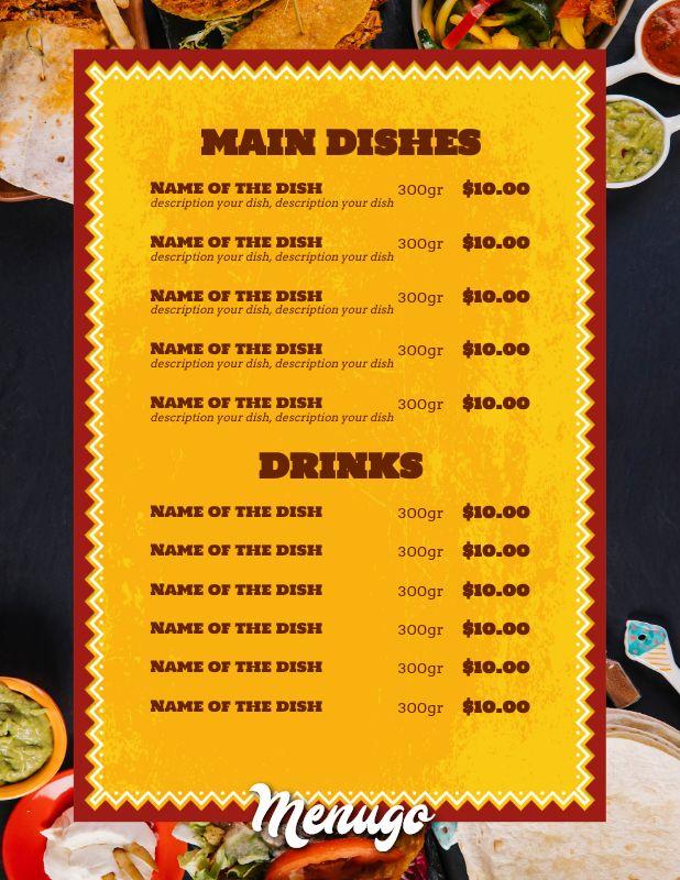 Bar Menu Template from menugo.com