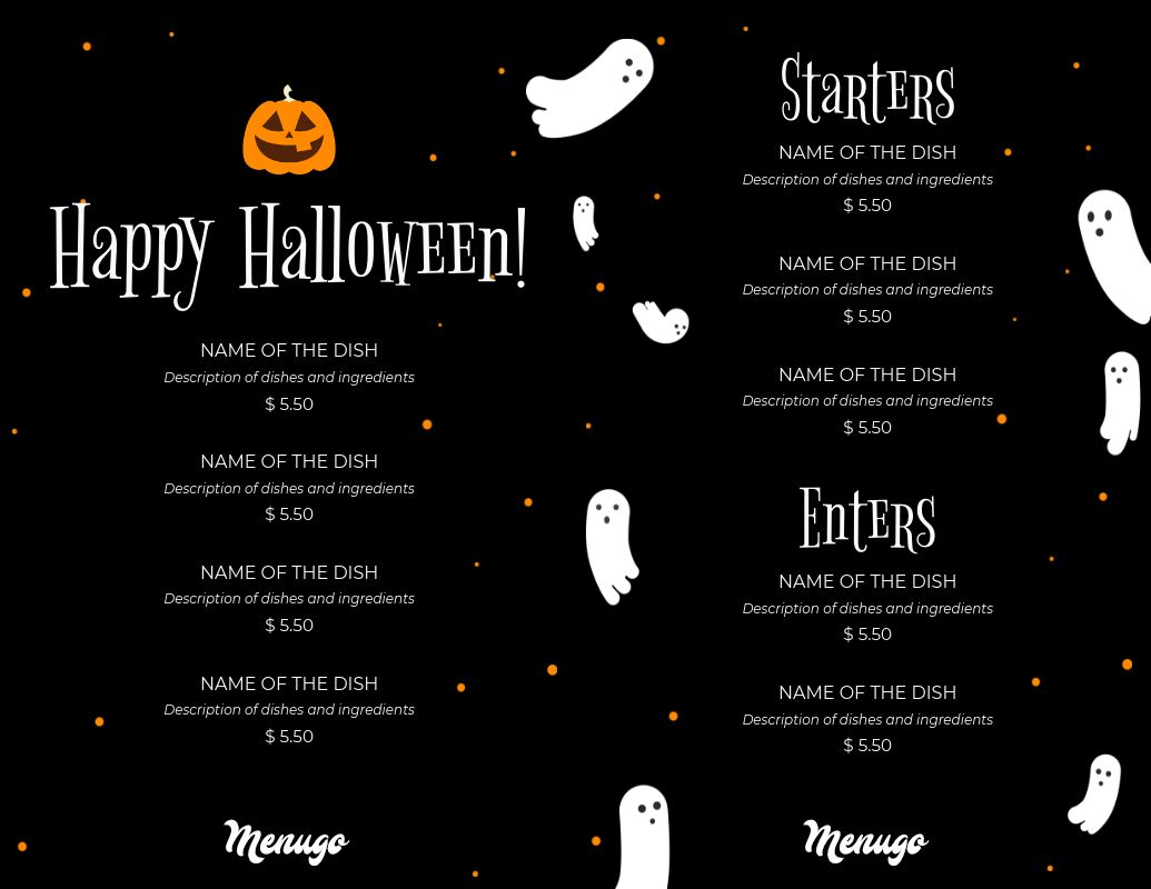 spooky halloween menu template
